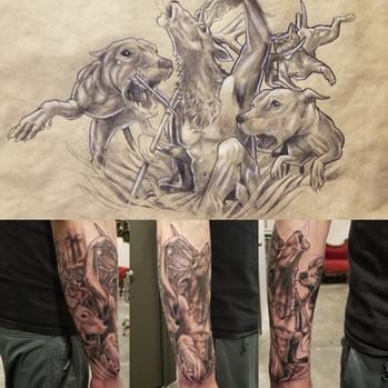 Start to Artemis Sleeve Tatoo by David Baran