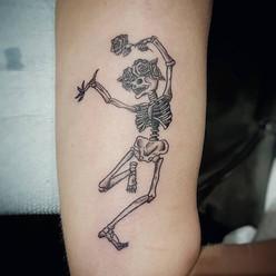 Dancing Skeleton Tattoo by Larissa Long