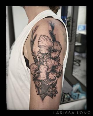Gladiolus Flower Tattoo by