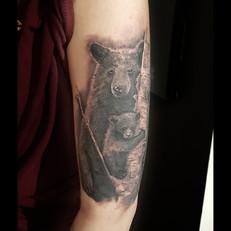 Realistic Bear Tattoo by Larissa Long