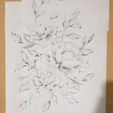 Peony Drawing for Hip Thigh Tattoo Larissa Long