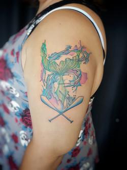 Water colour Mermaid Tail Tattoo Larissa Long