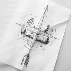 Compass tattoo design by Larissa Long