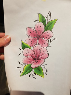 Blossoms tattoo design by Larissa Long