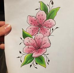 Blossoms tattoo design by Larissa Long