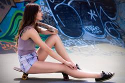 Skate park Portrait Girl with Skateboard
