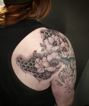 Realistic Flower Tattoo by Larissa Long