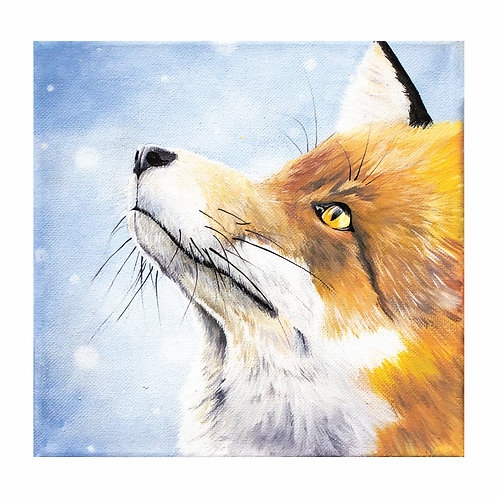 """""""A Moment Between A Fox and A Snowflake"""" Acrylic Painting Print"""