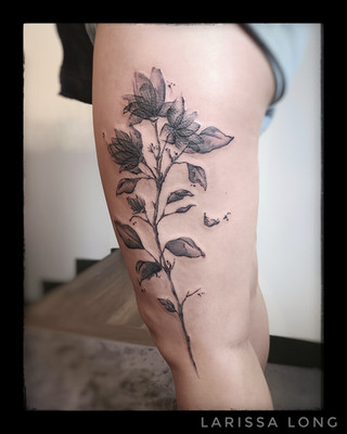 Water colour/Xray Flowers Tattoo by Larissa Long