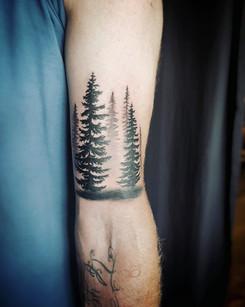 Misty Trees Tattoo by Larissa Long