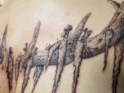 Antler Chest Tattoo by Larissa Long