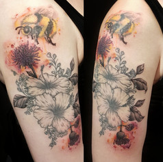 Flowers and Bee Watercolour Tattoo by Larissa Long