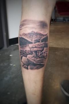 Inukshuk Landscape tattoo by David Baran