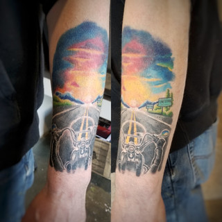 Riding into the Sunset Tattoo by David Baran