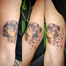 Dog Portrait Tattoo by Larissa Long