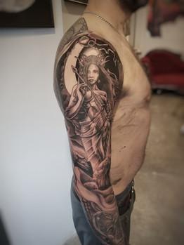 Finish of Artemis Sleeve Tattoo by David Baran