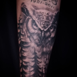 Owl and Forest Tattoo by David Baran