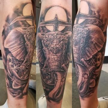 Elephant and Cobra Tattoo