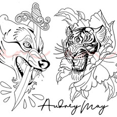 Wolf & Tiger Heads - Audrey May