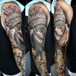 Headdress Skull Tattoo David Baran