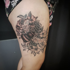 Floral bee and honeycomb tattoo by Larissa Long