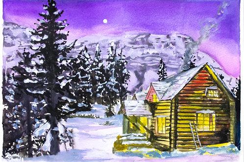 Alpenglow Cabin Christmas Card
