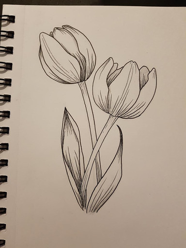 Simple tulips design by Larissa Long