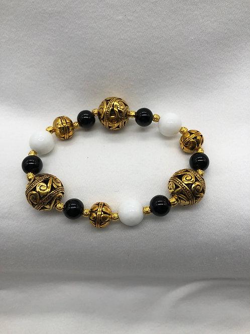 Black & White Gold tone Bracelet