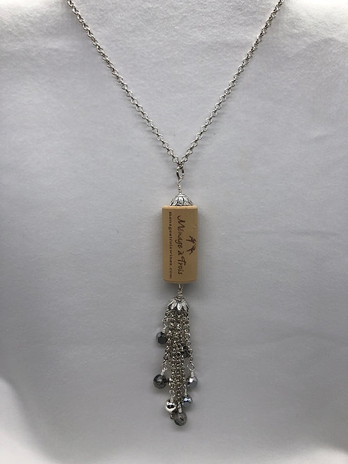 Gray & Silver tone Wine Cork Tassel Necklace