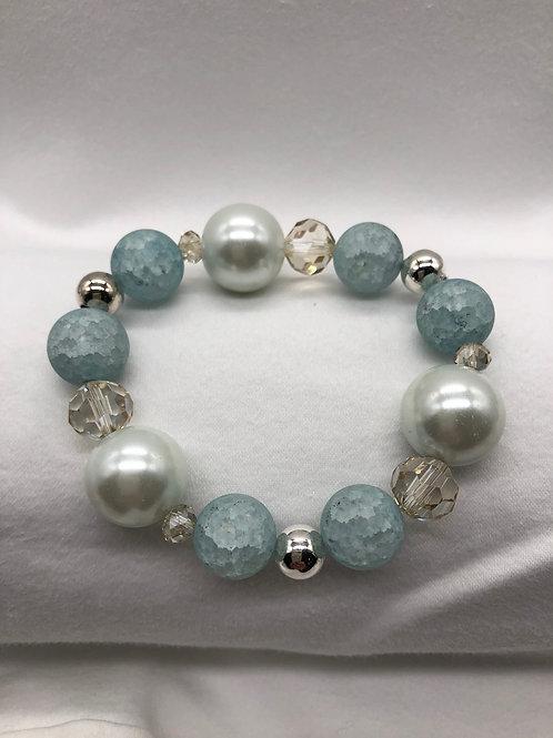Blue, White & Silver tone Bracelet