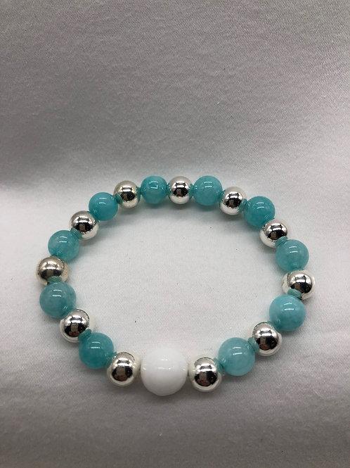 Blue & White agate Bracelet