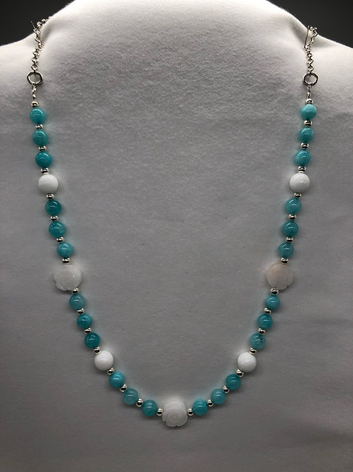 Blue & White agate Necklace