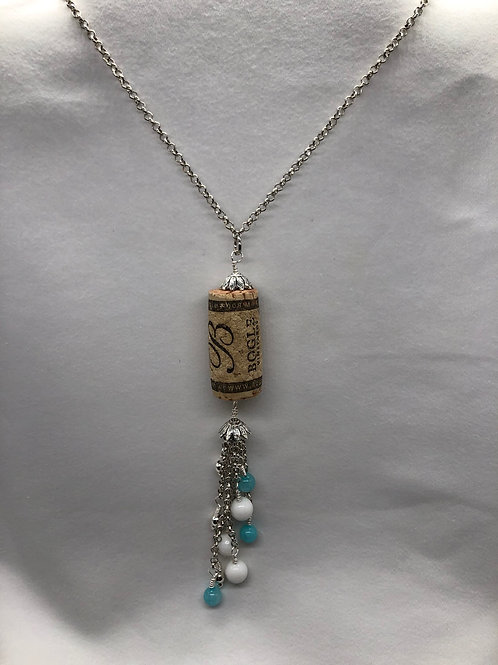 Blue & White Wine Cork Necklace