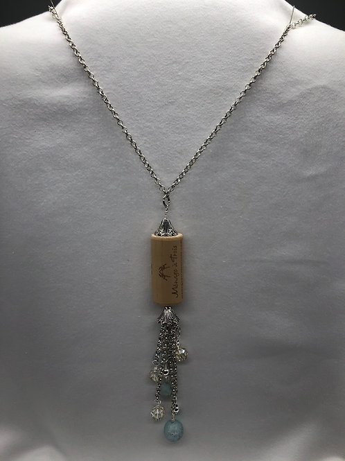 Blue & Silver tone Wine Cork Necklace