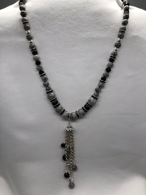 Black & Gray Tassel Necklace