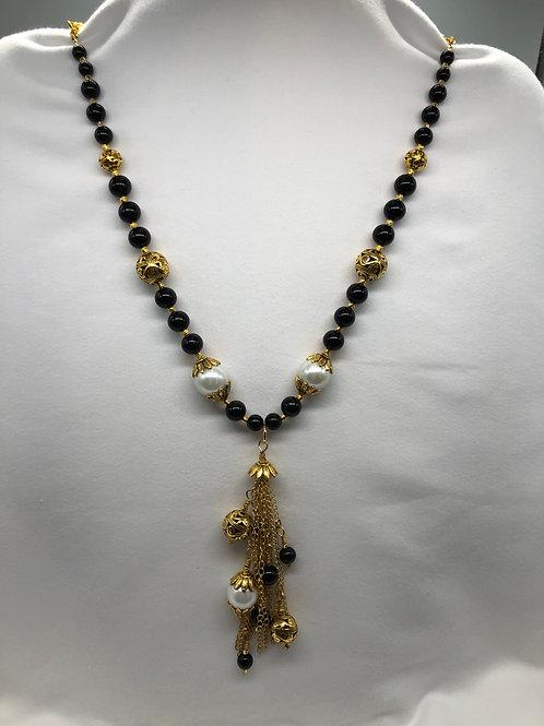 Black & White Gold tone Necklace
