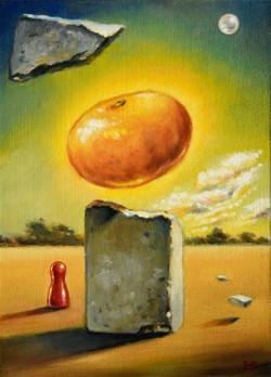 Metafysisk mandarin podie Danny Heinricht olie på plade