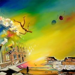 Silent Dream of a Cherry Cloud Danny Heinricht olie på lærred