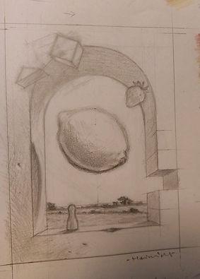 Den færdige tegning, inklusiv landskabet