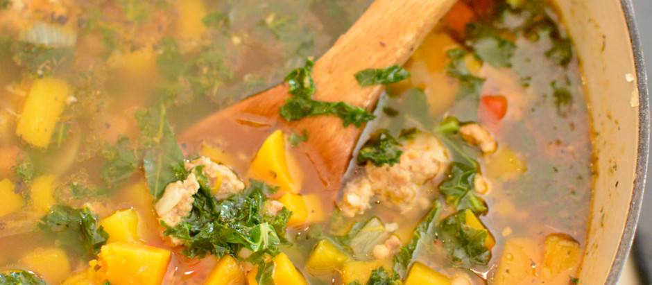 Butternut Squash, Kale + White Bean Soup with Sausage