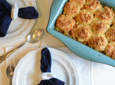 Chicken Potpie with Cheddar Biscuits
