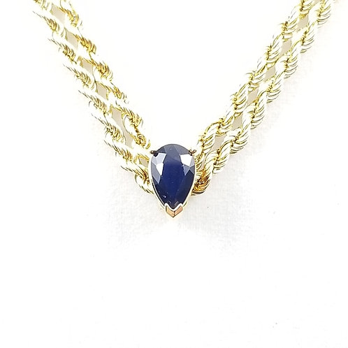 14k Pear Shaped Sapphire Double Rope Necklace