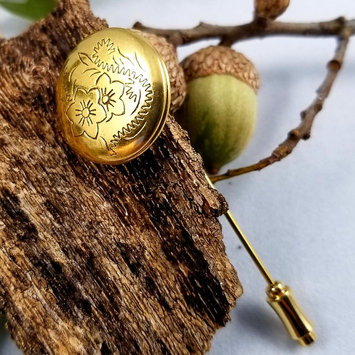Beautiful Vintage Floral Gold Plated Locket Pin