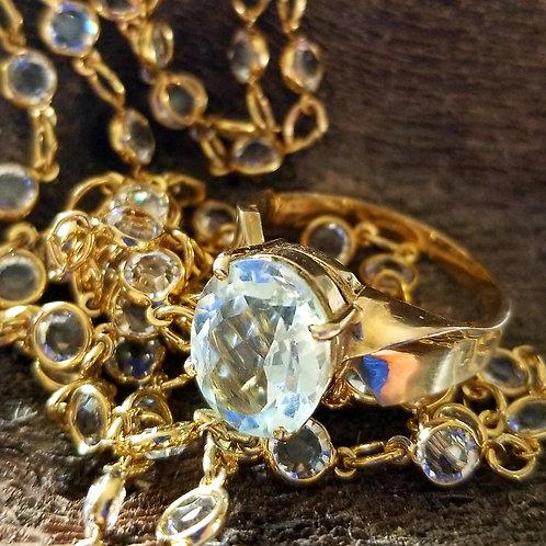 Vintage 10k Curved Aquamarine Solitaire Ring