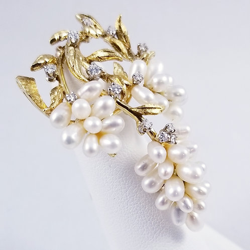Gold Tone Biwa Pearl & Crystal Brooch