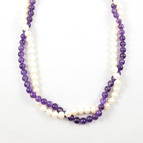 Vintage 14k Natural Amethyst & Pearl Double Strand Necklace