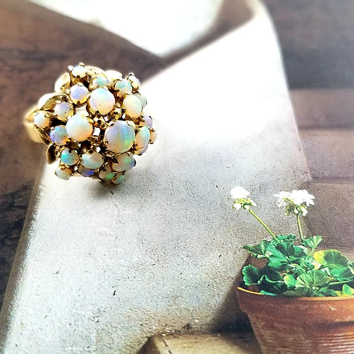 Vintage 14k Opal Cocktail Cluster Ring