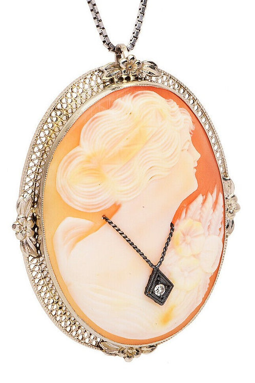Art Deco 14k Shell & Diamond Cameo