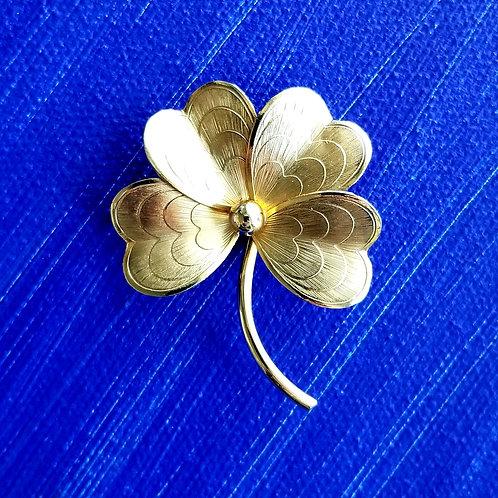 Retro 12k Gold Fill Four Leaf Clover Brooch