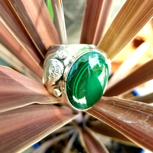 Vintage Hand Crafted Sterling Silver & Malachite Gent's Ring
